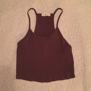 Brown Ribbed Cropped Tank